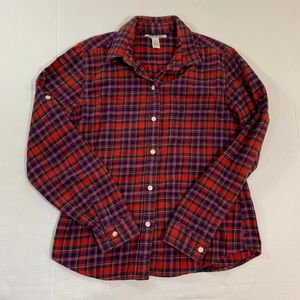 Lucky Brand Plaid Button Flannel Shirt Top M